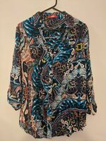 SES Women's Top Size 14 Blue Paisley Pattern Long Sleeve Blouse Shirt