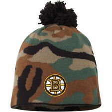NHL Reebok Boston Bruins Camouflage Cuffless Knit Beanie Toque Hat With Pom