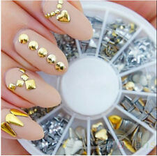 260pcs Silver/Gold Glitter Nail Art Decoration Sticker Punk Rivet Stud 2-8mm New