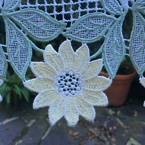 Pair Vintage French Guipure Lace Net Curtains 120cm W x 60 cm L. Sunflowers.