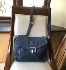MARKS & SPENCER AUTOGRAPH NAVY LEATHER CROSSBODY LARGE SPACIOUS BAG