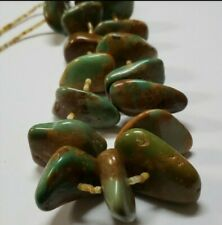"""Large Chunky Green Turquoise Necklace Sterling Silver Cones 24"""""""