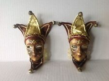 Two Vintage Original mini Venetian wall hanging masks nicely decorated