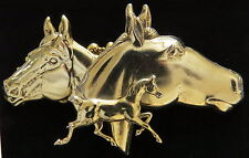 Horse Pin 24 Karat Gold Plate Equestrian Pony Colts Horses Rider Western