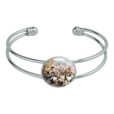 Pet Animals Selfie Dogs Cats Rabbit Silver Plated Metal Cuff Bracelet