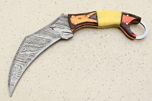 SCK  CUSTOM HAND MADE  DAMASCUS KARAMBIT HUNTING  KNIFE-# F-5451