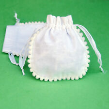 25 PCS White Drawstring Cotton Pouch Gift Bags Small Bag Jewelry Pouches 4 x 4""