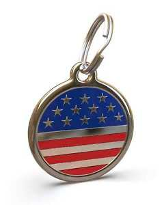 Pet Dog Cat ID Engraved Name Tag Personalized Stainless Steel America USA Flag
