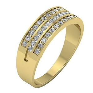 Wedding Ring VVS1 E 0.55 Ct Natural Diamond 14K Yellow Gold Prong Channel Set