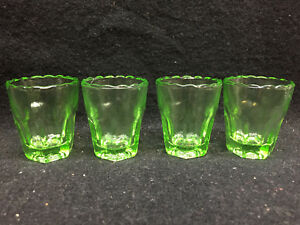 set of 4 green Vaseline glass uranium Shot Glass tumbler cup whiskey mug alcohol
