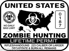 United States Zombie Hunting Permit sticker - outbreak response team decal WHITE