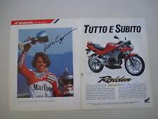 advertising Pubblicità 1992 MOTO HONDA NSR 125 F RAIDEN e LORIS CAPIROSSI