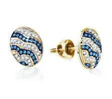 10K Yellow Gold Blue & White Diamond Earrings Diamond Oval Stud Earrings .20ct
