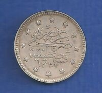 TURKEY OTTOMAN EMPIRE  Turkey 2 kurus 1910  (1327-2) SILVER  .835  EXTRA FINE