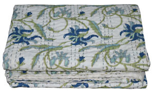 Handmade Floral print Kantha Embroidery Double Blanket Throw Indien Bedspread