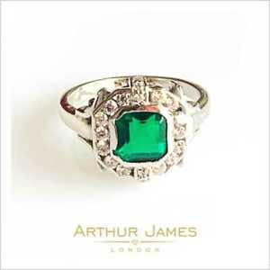 3.50 Ct Green Emerald cut Colombian Diamond Gemstone Women Ring Jewel White Gold
