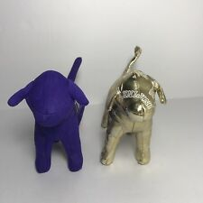 Victorias Secret PINK Lot of 2 Dogs - 2014 Limited Edition Gold & 1986 Purple