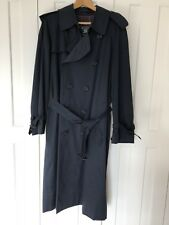 Burberry Mens L Large Trench Coat Navy Blue 50 RL Immaculate