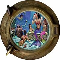 Huge 3D Porthole Fantasy Mermaids View Wall Stickers Film Mural Decal 434