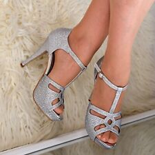 Ladies Strappy High Heel Sandals Platform T-bar Shoes Sparkly Party Wedding size