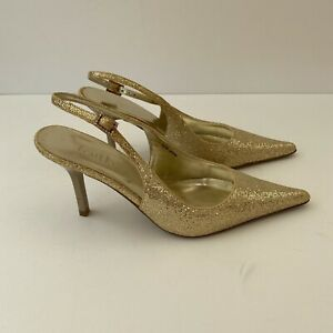 New Women's Faith UK 4 Gold Sparkly Sling Back Shoes. Parties Nights Out