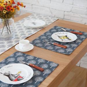 1PC Blue Kitchen Placemat Cotton Linen Pad Dining Table Mat Coaster Bowl Cup Mat