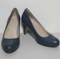Clarks Blue Leather Court Shoes Size 3 E UK Wide Fit Stiletto Heel