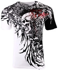 Внешний вид - Xtreme Couture Affliction Men's T-Shirt BRUTAL COMBAT White Skull Biker Tattoo