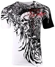Xtreme Couture Affliction Men's T-Shirt BRUTAL COMBAT White Skull Biker Tattoo