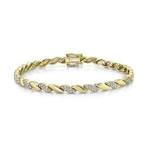 14K Yellow Gold Diamond Wave S Bracelet Statement Round Natural 1.10CT Womens