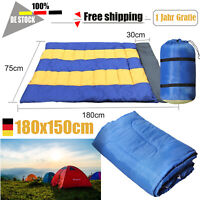 Schlafsack Doppelschlafsack Camping Zelt Outdoor 2 Personen + Kissen 180x150cm