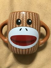 Sock Monkey Mug Cup Double Handles Ceramic Brown Galerie 16oz Coffee Cocoa Tea