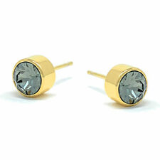 Small Stud Earrings with Black Diamond Round Crystals from Swarovski Gold Plated