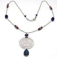 Collar Plata 925 , Lapislázuli, Colgante Medallón Árbol de la Vida