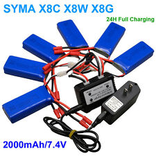 Fast 6in1 7.4V/2A 2000mAh Battery Charger Adapter Kit For Syma X8C X8W X8G Drone