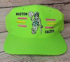 RARE Vintage Neon Boston Celtics Snapback Hat 80's Cap