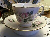 Vintage England Royal Vale Rose Floral Design Bone China Tea Cup & Saucer #8139