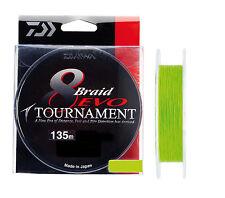 "tresse daiwa tournament 8 braid evo 14/100 ""couleur chartreuse"" 135m"