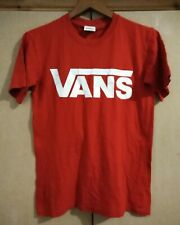 VANS LOGO IN WHITE ON RED T SHIRT - SIZE SMALL