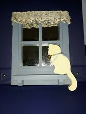 Vintage Handmade Wooden Window Mirror Blue With White Cat Sitting On Sill