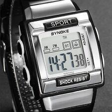 Fashion Men's LED Quartz Sport Wrist Watch Date Day Alarm Stopwatch Black Rubber