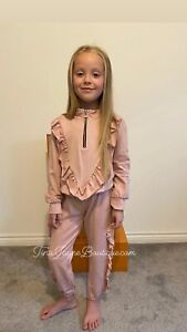 GIRLS CHILDRENS KIDS PINK TRACKSUIT LOUNGE TWO PIECE SET 4,6,8,10,12,14 YEARS