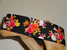 Skulls & Pink Roses 2 Inch Custom Made Martingale Dog Collar