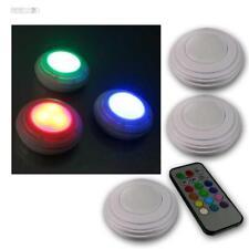 3 Led Foco Empotrable RGB & Blanco Control Remoto Funcionamiento con Batería