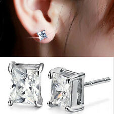 Bohemian Mens Womens Clear Square Silver Plated CZ Ear Stud Earrings Unisex