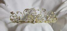 3x Bridal Tiara Wedding Diamante Crystal Pearl Crown Headband in Gold R5