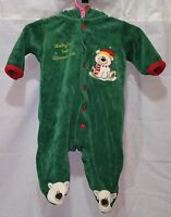 Okie Dokie Baby Hooded Sleeper Babys 1st Christmas Polar Bear Size 0-3M