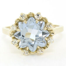 14K Yellow Gold Snowflake Cut Ice Blue Topaz Solitaire & Round CZ Cocktail Ring