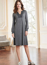 Versatile Charcoal Grey Marl A Line Lace Trim Tunic Dress with Pockets size 10