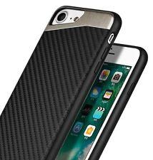 iPhone SE (2nd Gen, 2020) Magnetic Backplate Black Carbon Fiber TPU Rubber Case